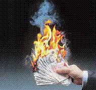 Sterling Cash burning into smoke